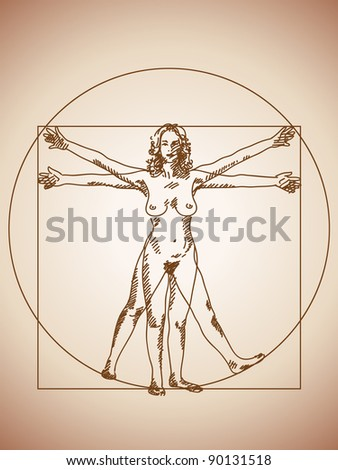 Vitruvian woman Hand drawn - stock vector