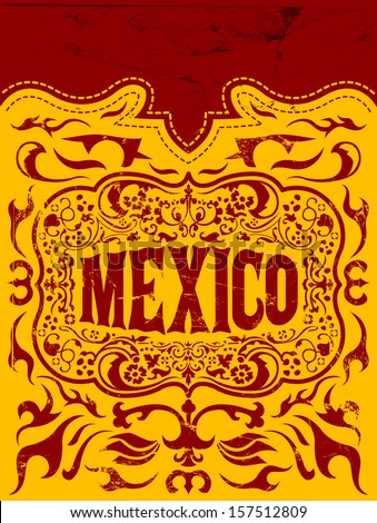 Viva Mexico - mexican holiday vector poster - Grunge effects can be easily removed