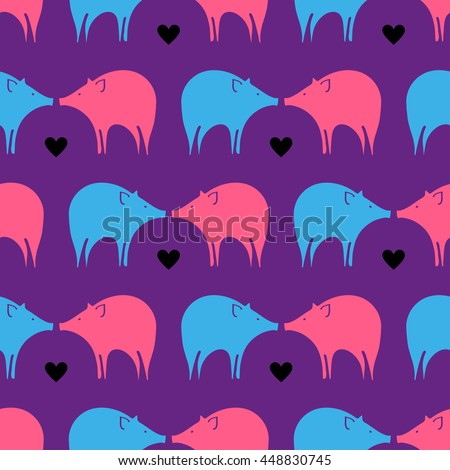 Vivid animal seamless pattern with bright funny pigs in vector. Vector piggy background design. Colorful abstract background with ornamental pattern. Funky style - stock vector