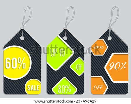 Vivid color discount label set of three hanging  - stock vector