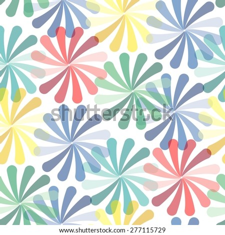 Vivid colorful repeating flower seamless background - stock vector