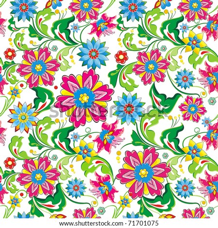 Vivid, colorful, repeating seamless floral wallpaper pattern with bright flowers, element for design, vector illustration - stock vector