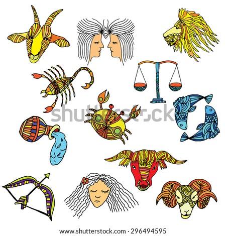 Vivid horoscope illustration - stock vector