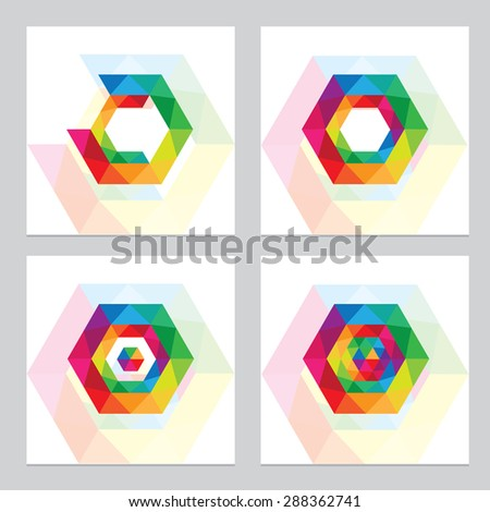 vivid multicolored abstract low polygon design element logos. Multiple triangles constructing geometric hexagon shape - stock vector