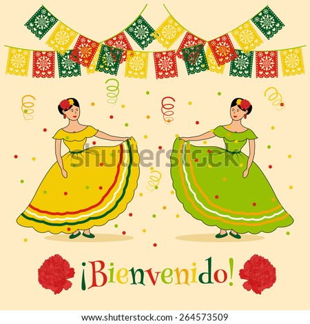 "vivid poster template with illustration of mexican carnival: traditional dressed women, mexican cut flags and spanish ""bienvenido"" text which is translated as ""welcome"" - stock vector"