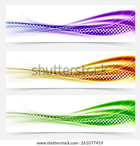 Vivid speed swoosh abstract line banner footer collection satin wave background template. Vector illustration - stock vector