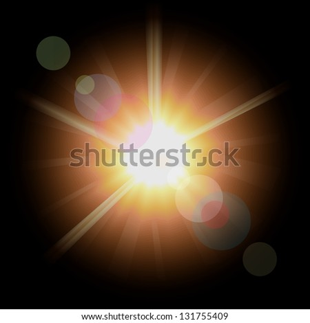 Vivid sun in a space. Vector illustration.