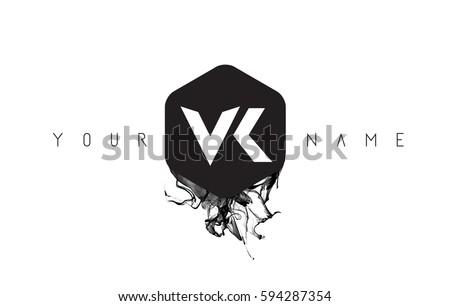 Vk black ink letter logo design stock vector 594287354 shutterstock vk black ink letter logo design with rounded hexagon vector toneelgroepblik Images