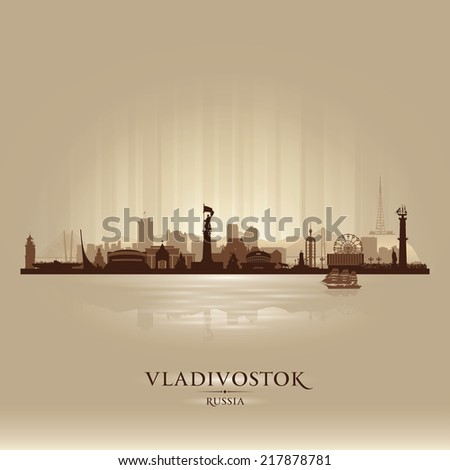 Vladivostok Russia skyline city silhouette Vector illustration - stock vector