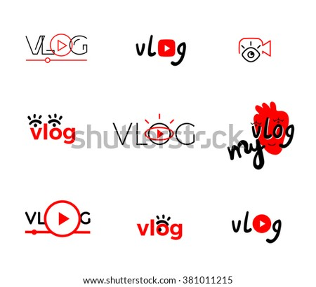 Vlog or video blogging or video channel buttons set. Vector illustration.