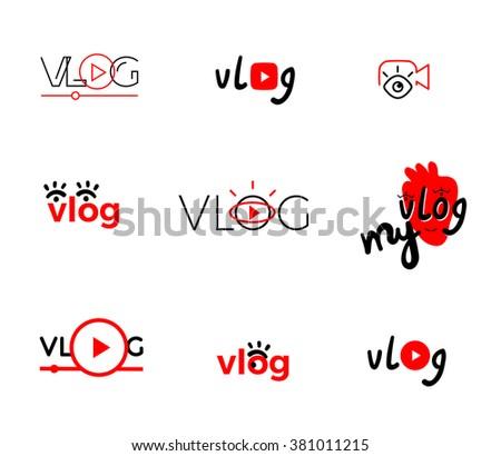 Vlog or video blogging or video channel buttons set. Vector illustration. - stock vector