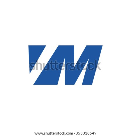 VM negative space letter logo blue