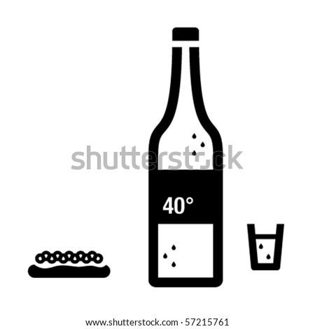 Vodka and caviar sandwich. - stock vector