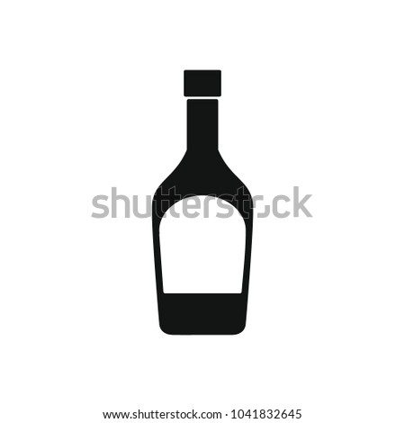 Vodka bottle icon. Silhouette illustration of Vodka bottle vector icon for web and advertising