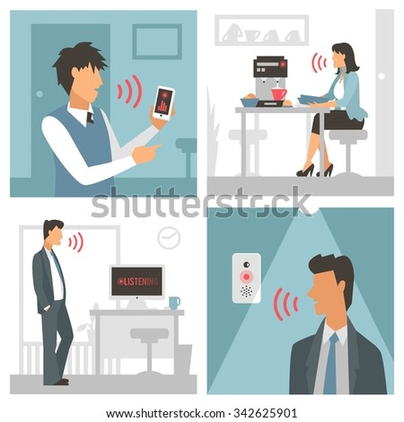 Voice control vector illustration. Smart computer voice control with human voice. Smart phone, smart house, modern computer technology. Voice control girl woman command background. Voice control icon - stock vector