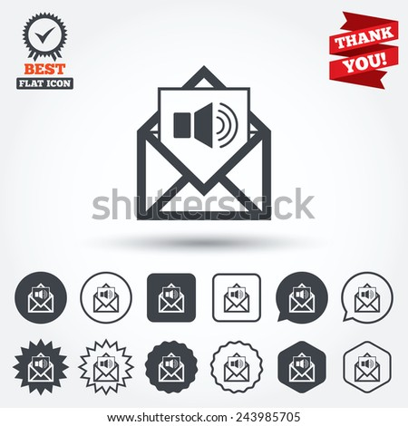 Voice mail icon. Speaker symbol. Audio message. Circle, star, speech bubble and square buttons. Award medal with check mark. Thank you. Vector - stock vector