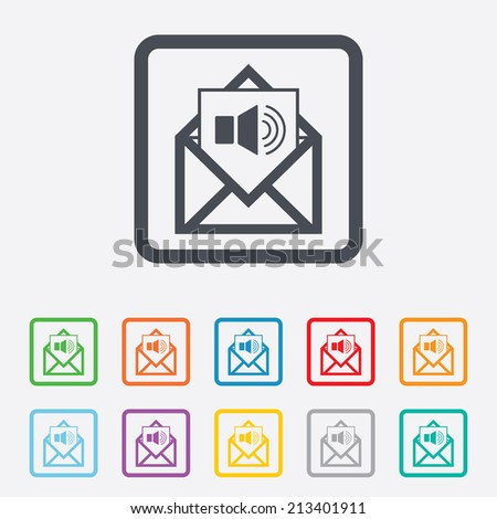 Voice mail icon. Speaker symbol. Audio message. Round squares buttons with frame. Vector - stock vector