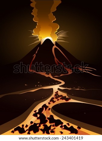 volcanic eruption and lava flows hot - stock vector