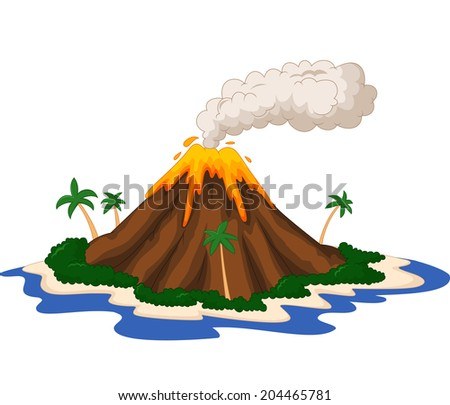 Volcanic island - stock vector