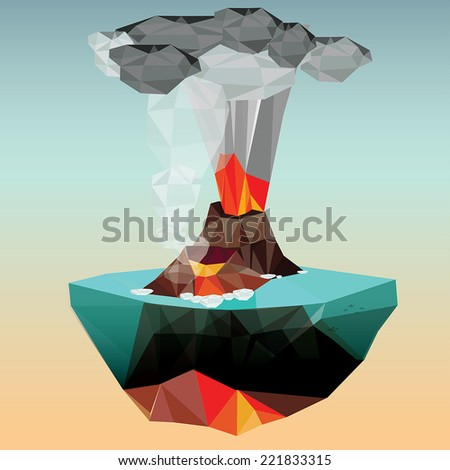 Volcano in low polygon style. Vector illustration - stock vector