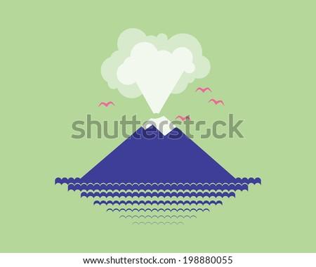Volcano island in the sea. - stock vector
