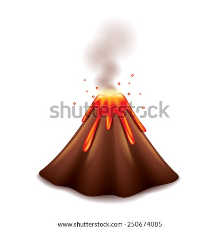 Volcano isolated on white photo-realistic vector illustration - stock vector