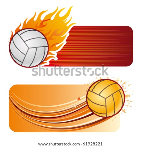 volleyball design element and flames - stock vector