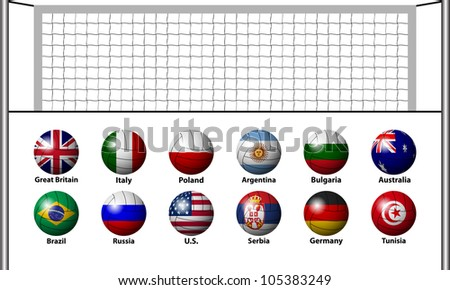 Volleyball draw - stock vector