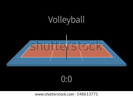 Volleyball Field with a score on black background. Vector illustration. - stock vector