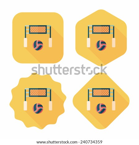 volleyball flat icon with long shadow,eps10 - stock vector