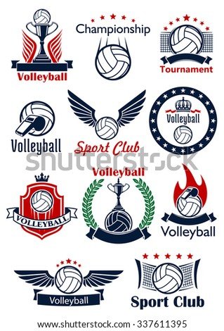 Volleyball game sport emblems, icons and symbols with balls, trophies, whistles and nets. Decorated by heraldic shield, wreath and ribbon banners, stars, crowns, wings and flames - stock vector