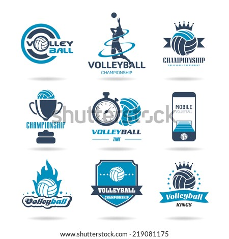 Volleyball icon set - 2 - stock vector