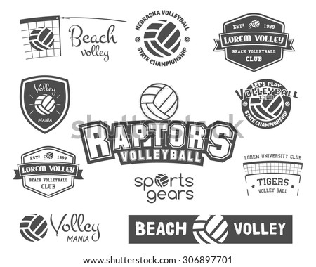Volleyball labels, badges, logo and icons set. Sports insignias. Best for volley team club, training camp, sport shops, t-shirt, web sites or magazines. Vector illustration - stock vector