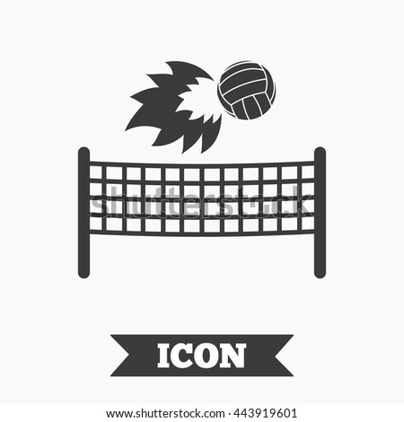 Volleyball net with fireball sign icon. Beach sport symbol. Graphic design element. Flat volleyball symbol on white background. Vector - stock vector