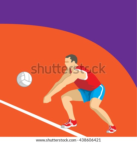 Volleyball Player Illustration,  Athlete Illustration, Volleyball Icon, 3D Athlete Vector, Athlete flat image, Rio 2016 Summer Games Olympics EPS, Ball symbol - stock vector