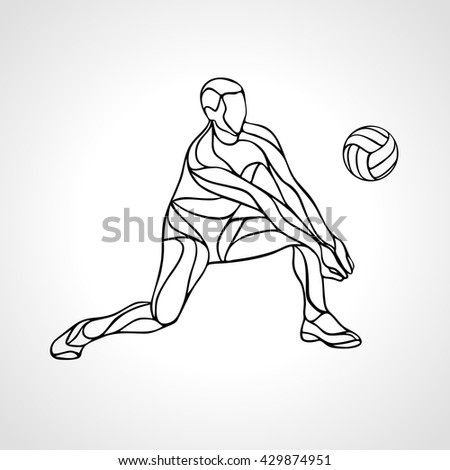Volleyball player outline silhouette - stock vector