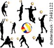 volleyball player set - vector - stock vector