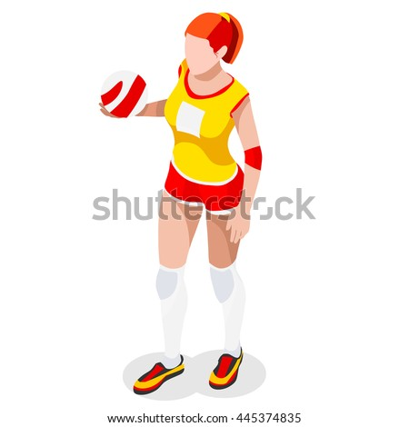 Volleyball Player 2016 Summer Games Icon Set.3D Isometric Indoor Volleyball.Sporting Championship International Volley Team Match Competition.Sport Infographic Volleyball olympics Vector Illustration. - stock vector