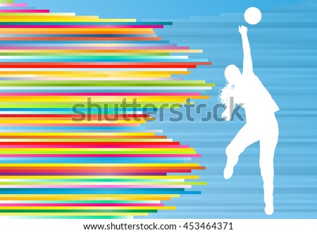 Volleyball player woman silhouette abstract vector background illustration - stock vector