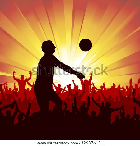 volleyball silhouette - stock vector