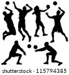 Volleyball Silhouette on white background - stock vector