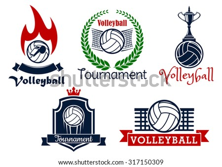 Volleyball sport game heraldic icons and symbol with balls, net, trophy cup, whistle and flame, framed by laurel wreath, crown, shield and ribbon banners - stock vector
