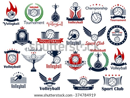 Volleyball sport game icons and symbols. Including many decorative elements as ball, net and whistle, laurel wreath and wings, fire and shield, trophy cup, crown and fire flame - stock vector