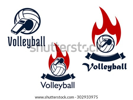 Volleyball sport game icons with blue volleyball balls and whistles, decorated by blank ribbon banners and red fire flames - stock vector