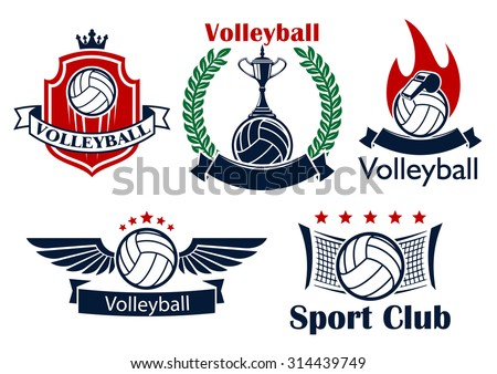 Volleyball sporting club or team emblems with volleyball balls, net, trophy, whistle, flame and wings, supplemented by heraldic shield with crown, laurel wreath, ribbon banners and stars - stock vector
