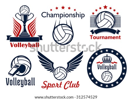 Volleyball tournament and sport club emblems design with ball, net, trophy cup, ribbons, wings, stars and crown - stock vector