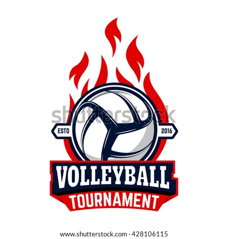 Volleyball tournament. Label template with volleyball ball. Design element for logo, label, emblem, badge, sign. - stock vector