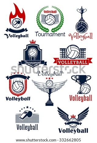 Volleyball tournament or sport team emblems with balls, trophies and whistles with wings, stars, flame and crowns, supplemented by heraldic shields, wreath and ribbon banners - stock vector