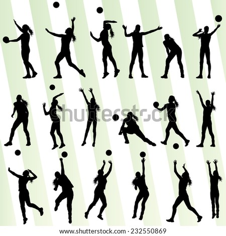 Volleyball woman player vector background set - stock vector