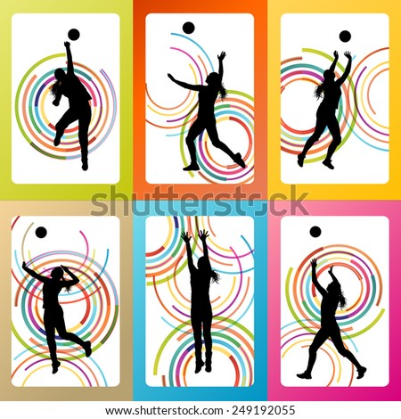 Volleyball woman player vector background set concept - stock vector